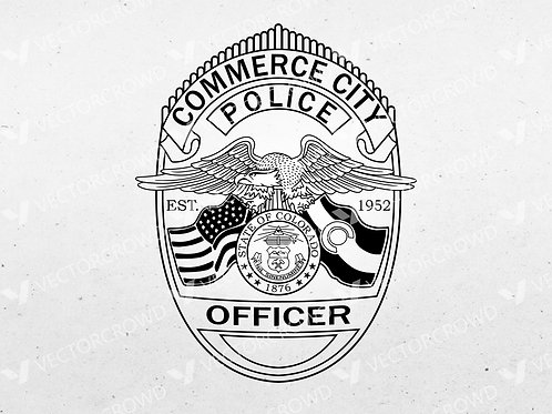 Commerce City Colorado Police Officer Badge | Vector Image