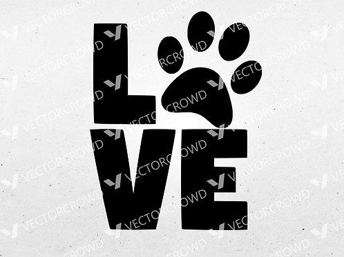 Love Paw Animals Dog Cat Animal Lover | SVG Cut File