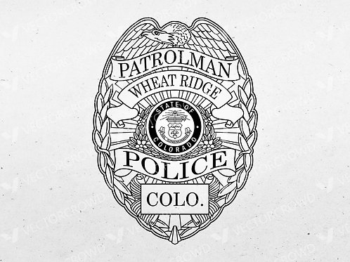 Wheat Ridge Colorado Police Officer Badge | Vector Image