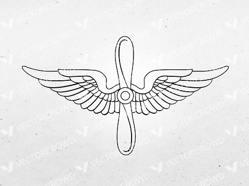 US Army Air Force Prop and Wings Insignia  | SVG Cut File
