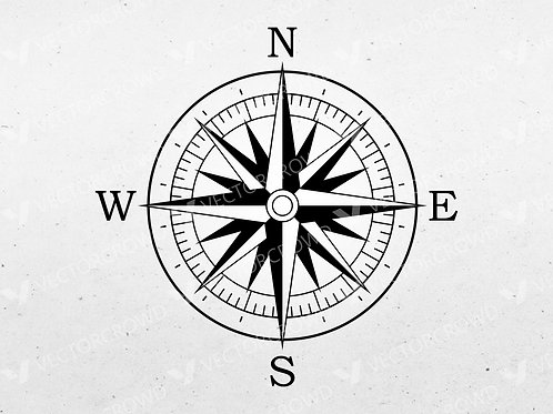 Nautical Compass Rose Face | VectorCrowd