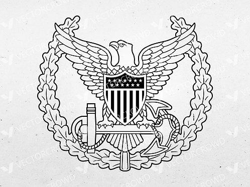 USCG Command Ashore Pin Insignia | SVG Vector Image