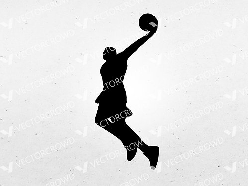 Basketball Player #2 Dunking Silhouette | SVG Cut File