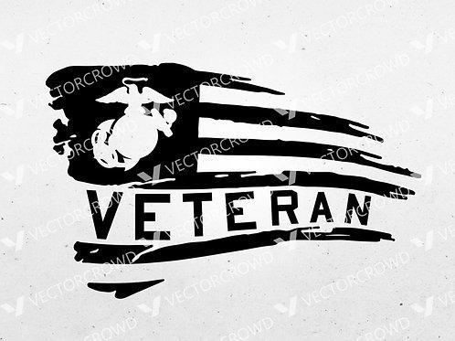 US Marines Veteran Horizontal USA American Flag | SVG Cut