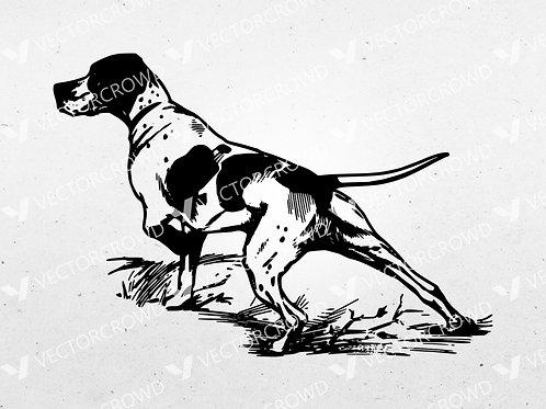 Hunting Dog Pointer Hound Outline  | SVG Cut File
