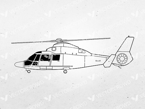 Coast Guard MH-65 Dolphin Helicopter Side Profile | SVG Cut File