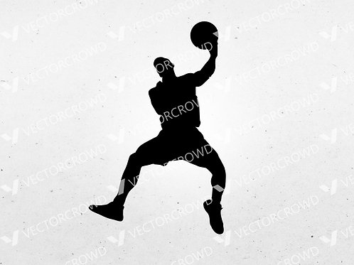 Basketball Player #4 Dunking Silhouette | SVG Cut File