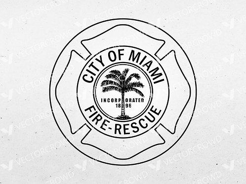 Miami Florida Fire Rescue Emblem   SVG Vector Image