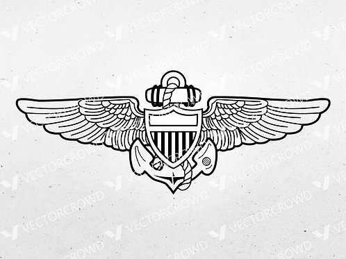 United States Naval Aviator Aircrew Wings | SVG Cut File