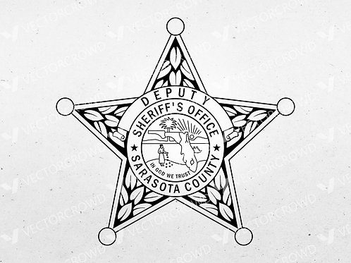 Sarasota County Florida Sheriff's Department Deputy Badge   Vector Image