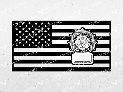NYPD Detective Badge American Flag  | SVG Vector