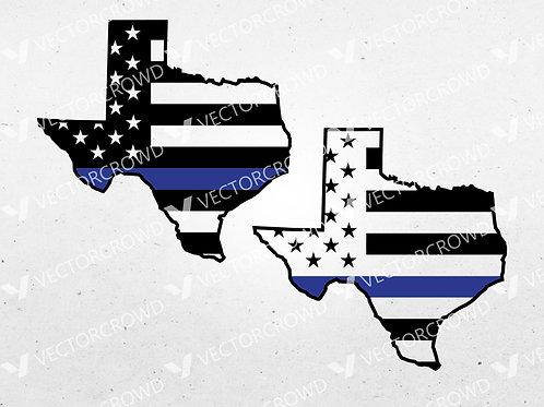 Texas Thin Blue Line State USA American Flag | SVG Cut