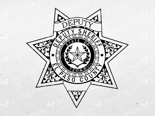 El Paso County Texas Deputy Sheriff Department Badge | Vector Image