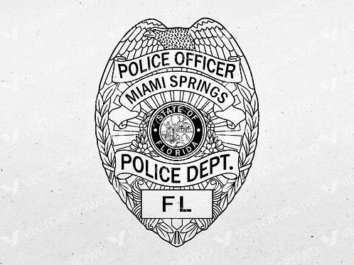 Miami Springs Florida Police Department Badge | Vector Image