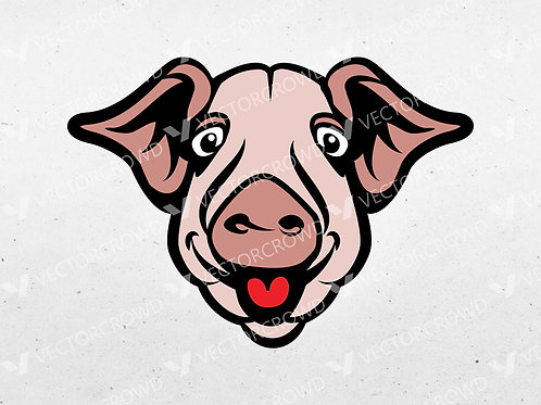 Cartoon Pigs Head Layered Image | Vector Images | VectorCrowd
