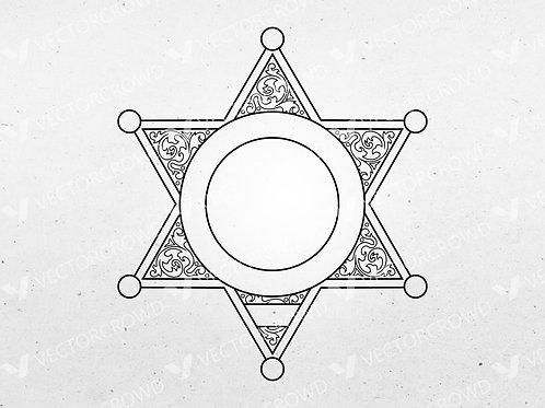 Blank Police Sheriff's Badge Version 9 | Vector Image