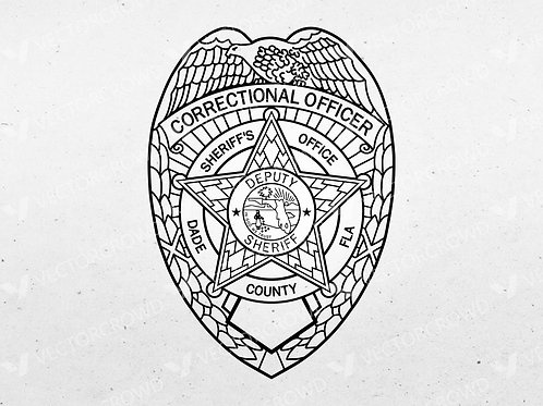 Dade County Florida Sheriff's Corrections Officer Badge | Digital Image | VectorCrowd