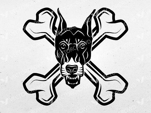Dog Skull Crossed Bones   Vector Images   VectorCrowd