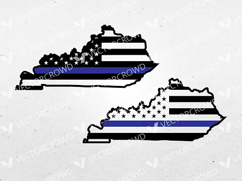 Kentucky Thin Blue Line State USA American Flag | SVG Cut