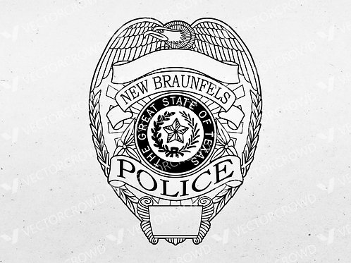New Braunfels Texas Police Department Officer Badge | Vector Image