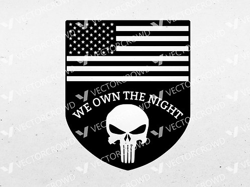Punisher Skull American Flag  | SVG Cut File