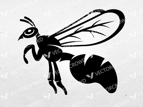 Flying Wasp | Vector Image | VectorCrowd
