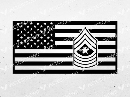 US Marines Sergeant Major Rank Insignia American Flag | SVG Cut File