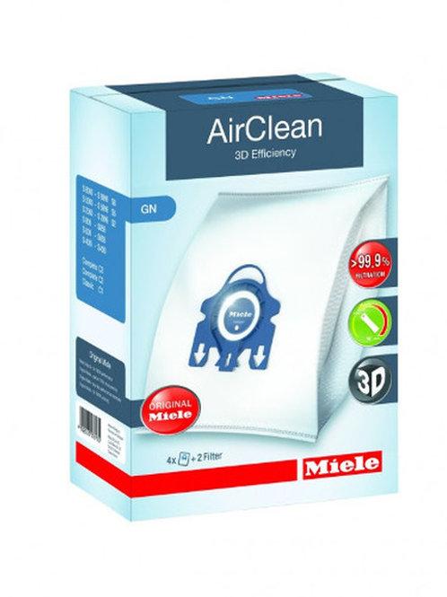 Miele Type GN AirClean 3D Efficiency Vacuum Bags 4 Bags & 2 Filters 10123210