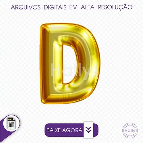 Arquivo Digital PNG -Letra Balão - Ouro ( D ) Maiúscula