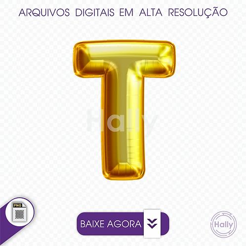 Arquivo Digital PNG -Letra Balão - Ouro ( T ) Maiúscula