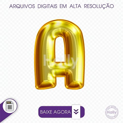 Arquivo Digital PNG -Letra Balão - Ouro ( A ) Maiúscula