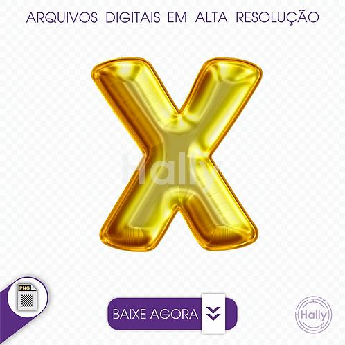 Arquivo Digital PNG -Letra Balão - Ouro ( X ) Maiúscula