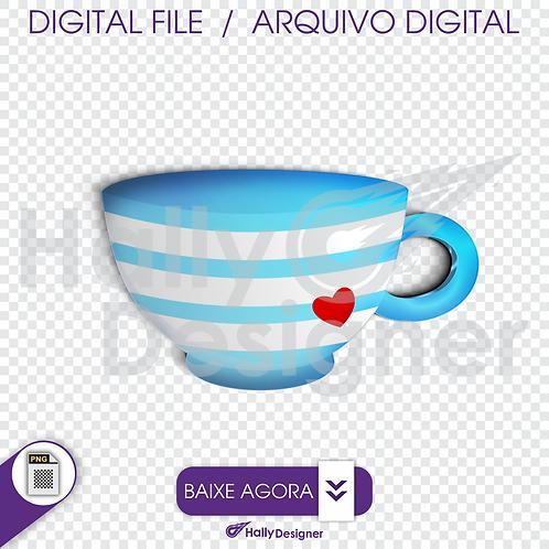 Arquivo Digital PNG - Festa Alice - Xícara Azul
