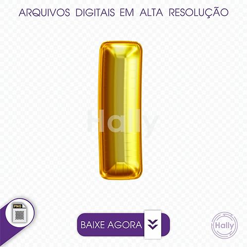 Arquivo Digital PNG -Letra Balão - Ouro ( I ) Maiúscula