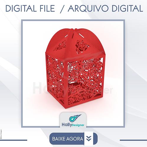 Arquivo de Corte DXF - Caixa com rosas vazadas Para Casamento