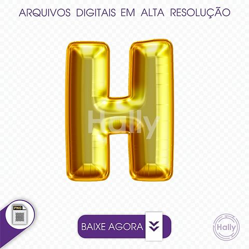 Arquivo Digital PNG -Letra Balão - Ouro ( H ) Maiúscula