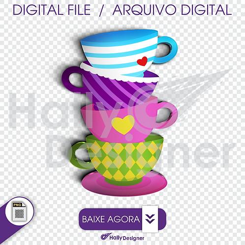 Arquivo Digital PNG - Festa Alice - Xícaras