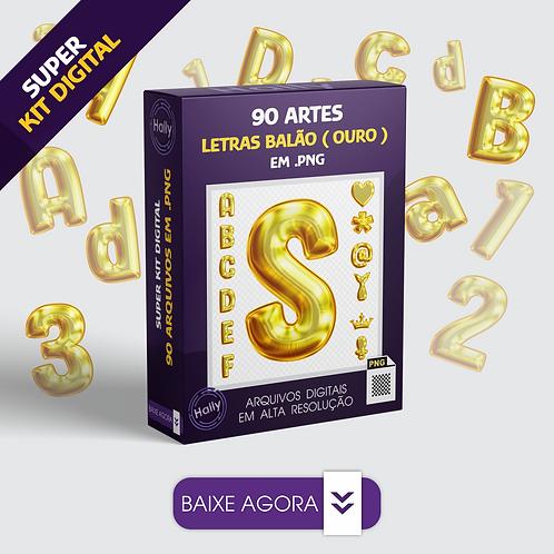 Kit Digital PNG - Letras - Números e Sinais em Formato de Balões -Ouro