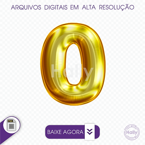 Arquivo Digital PNG -Letra Balão - Ouro ( O ) Maiúscula