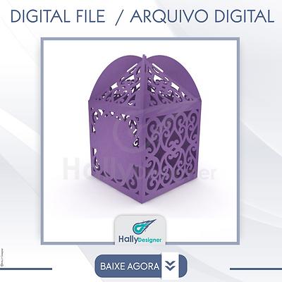 Arquivo de Corte DXF -Caixa vazada com Renda Para Casamento