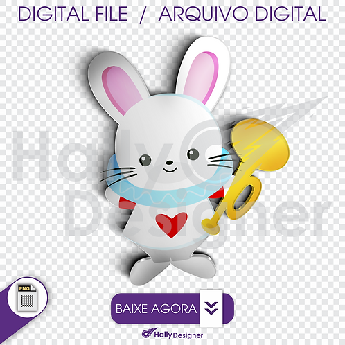 Arquivo Digital PNG - Festa Alice - Coelho