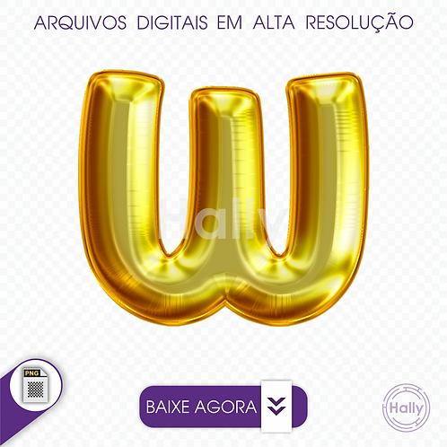 Arquivo Digital PNG -Letra Balão - Ouro ( W ) Maiúscula