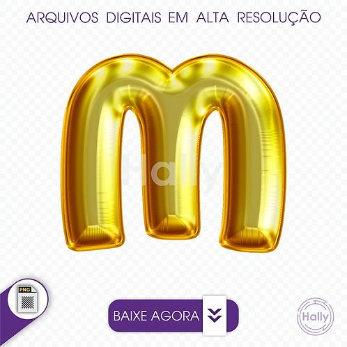 Arquivo Digital PNG -Letra Balão - Ouro ( M ) Maiúscula