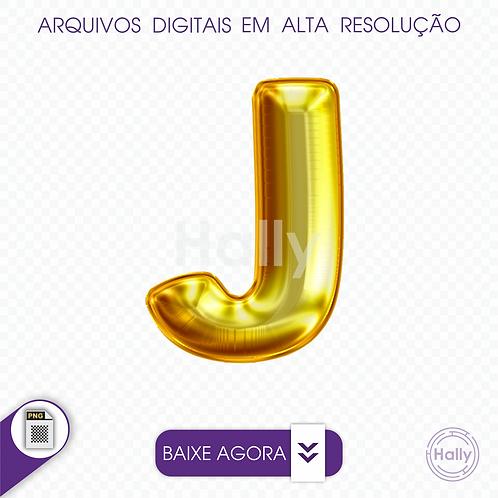 Arquivo Digital PNG -Letra Balão - Ouro ( J ) Maiúscula