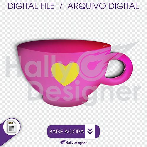 Arquivo Digital PNG - Festa Alice - Xícara Rosa