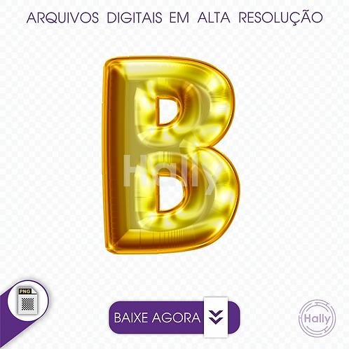 Arquivo Digital PNG -Letra Balão - Ouro ( B ) Maiúscula