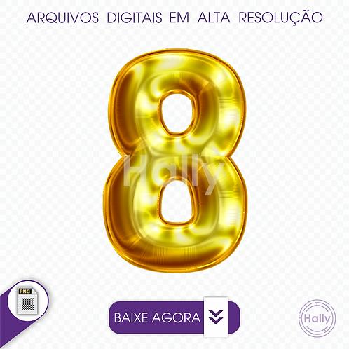 Arquivo Digital PNG -Letra Balão - Ouro Número 8