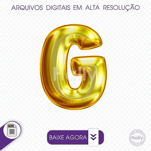 Arquivo Digital PNG -Letra Balão - Ouro ( G ) Maiúscula