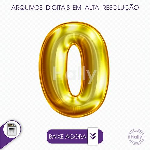 Arquivo Digital PNG -Letra Balão - Ouro Número 0