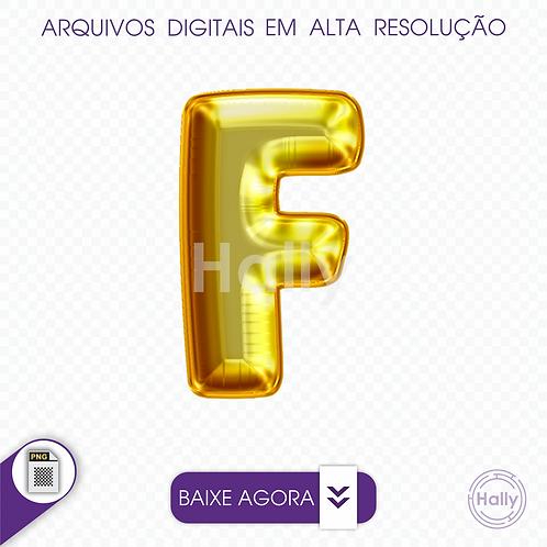 Arquivo Digital PNG -Letra Balão - Ouro ( F ) Maiúscula
